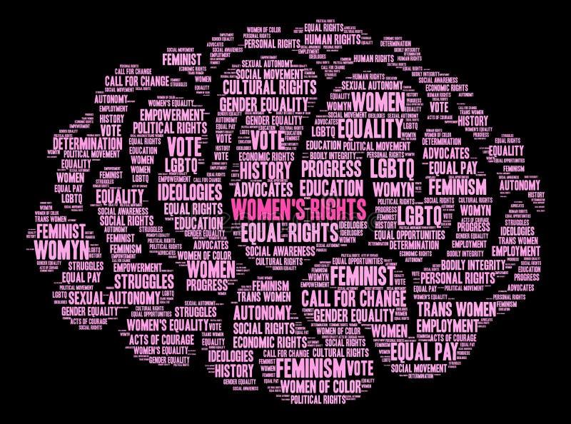 Облако слова прав женщин иллюстрация штока