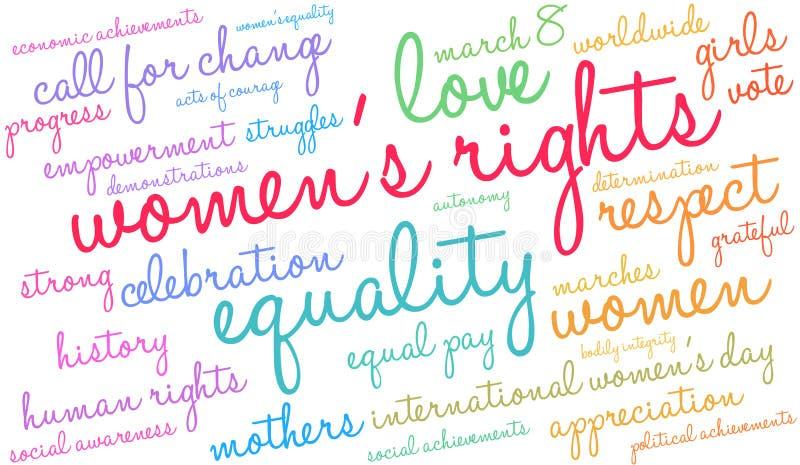 Облако слова прав женщин иллюстрация вектора
