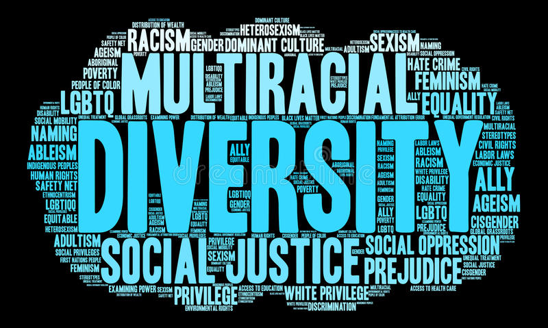 Облако слова разнообразия иллюстрация штока