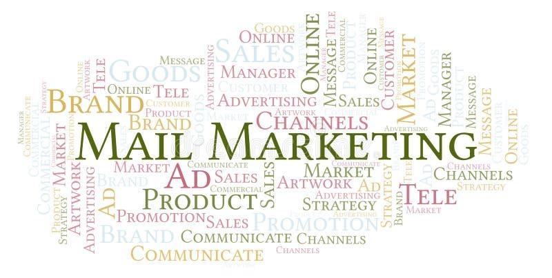 Облако слова с маркетингом почты текста иллюстрация вектора