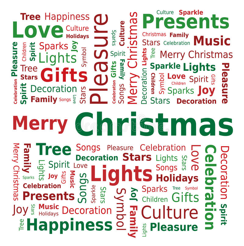 Облако слова - с Рождеством Христовым иллюстрация штока