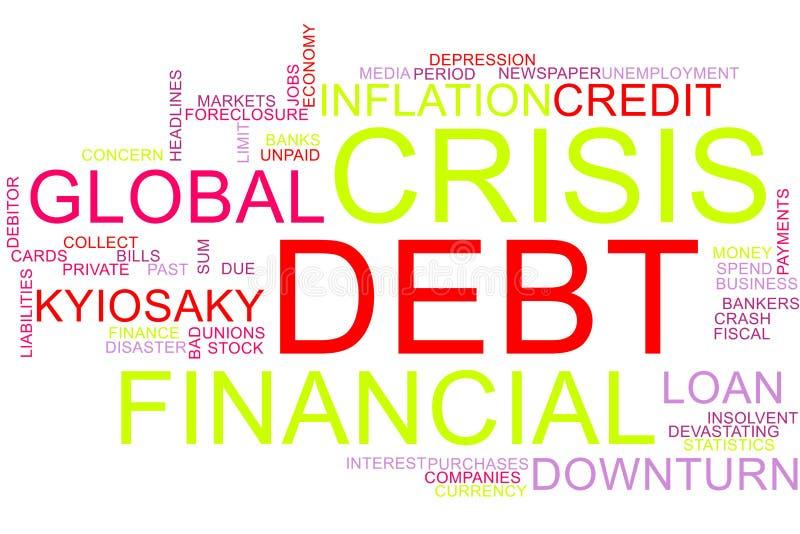 Облако слова финансового кризиса стоковое изображение rf
