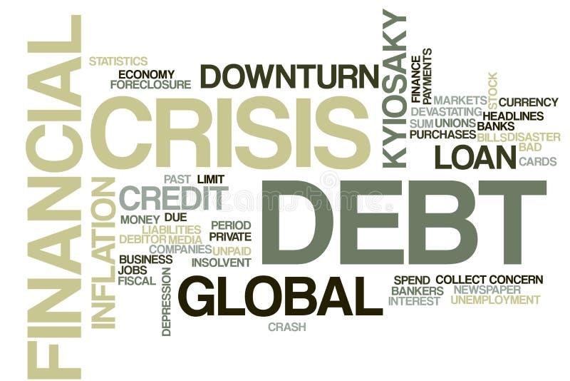 Облако слова финансового кризиса стоковая фотография