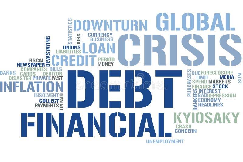 Облако слова финансового кризиса стоковое фото rf