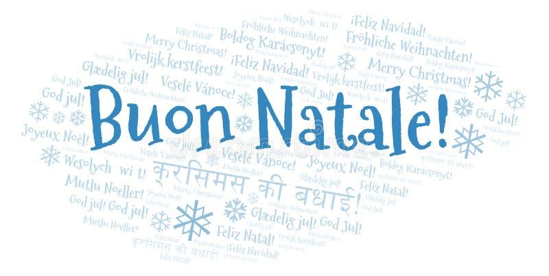 Облако слова Buon Natale - веселое рождество на итальянском языке и других различных языках иллюстрация вектора