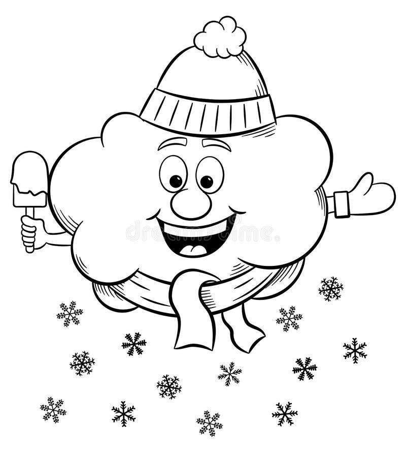 Облако снега с шарфом и шляпой бесплатная иллюстрация