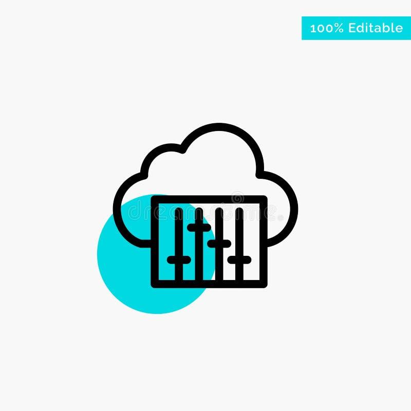 Облако, соединение, музыка, аудио значок вектора пункта круга самого интересного бирюзы бесплатная иллюстрация