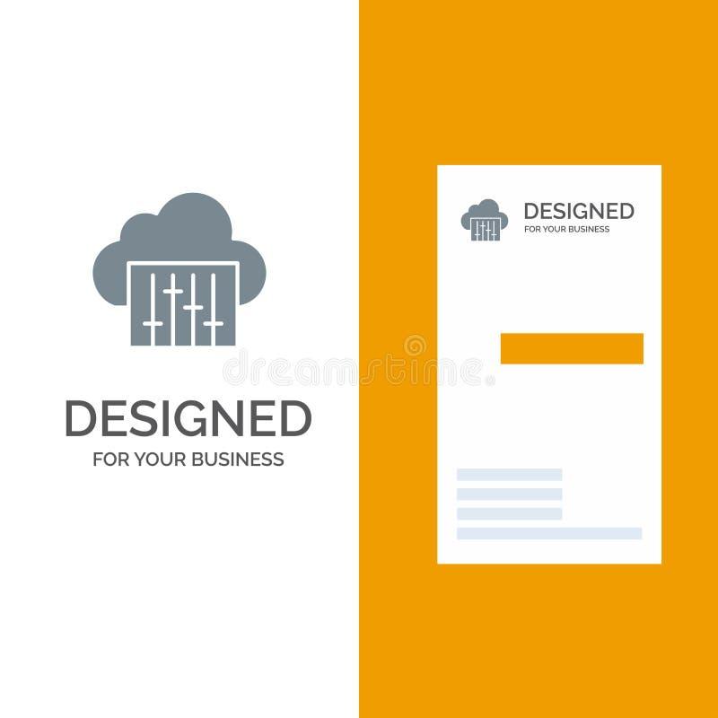 Облако, соединение, музыка, аудио серый дизайн логотипа и шаблон визитной карточки иллюстрация штока