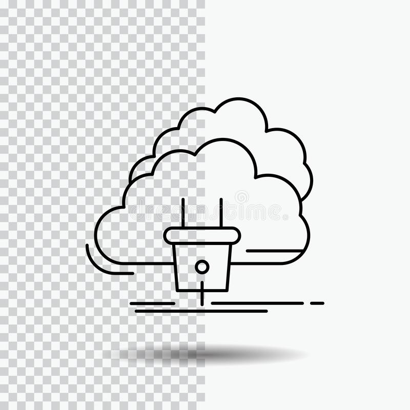 Облако, соединение, энергия, сеть, значок линии электропередач на прозрачной предпосылке r иллюстрация вектора