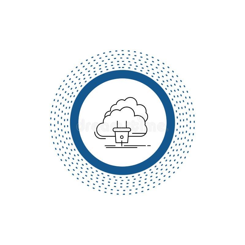 Облако, соединение, энергия, сеть, значок линии электропередач r иллюстрация вектора