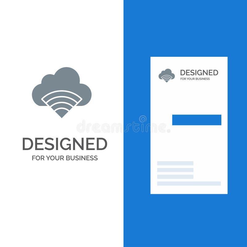 Облако, соединение, Wifi, дизайн логотипа сигнала серые и шаблон визитной карточки иллюстрация вектора