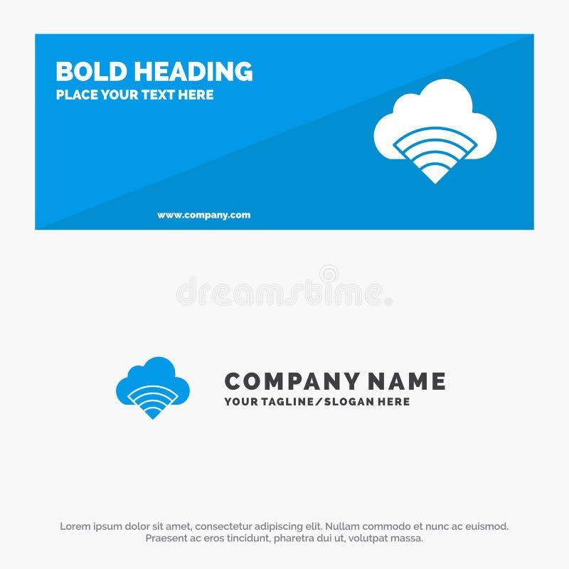 Облако, соединение, Wifi, знамя вебсайта значка сигнала твердые и шаблон логотипа дела иллюстрация вектора