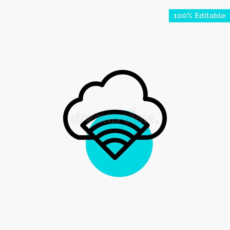 Облако, соединение, Wifi, значок вектора пункта круга самого интересного бирюзы сигнала иллюстрация вектора