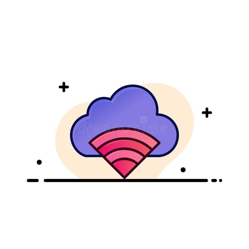 Облако, соединение, Wifi, линия дела сигнала плоская заполнило шаблон знамени вектора значка иллюстрация штока