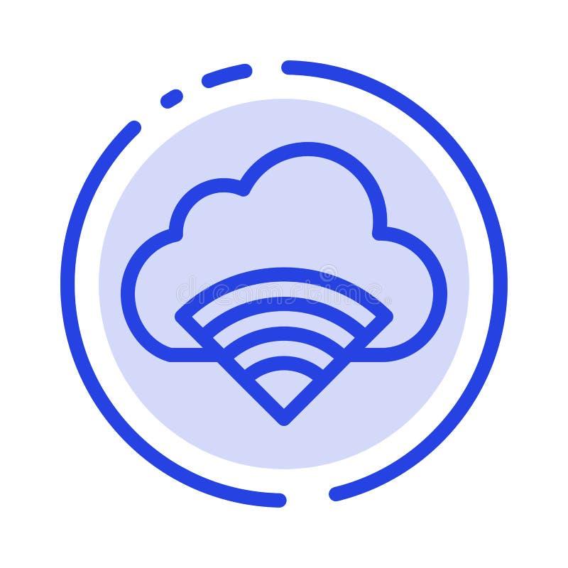Облако, соединение, Wifi, линия значок голубой пунктирной линии сигнала иллюстрация штока
