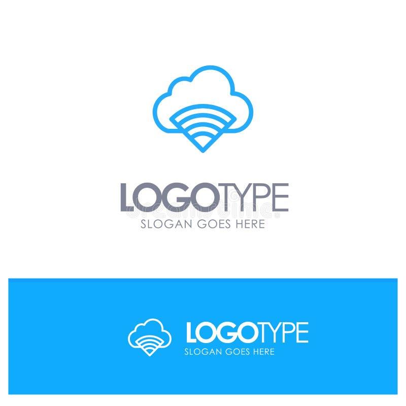 Облако, соединение, Wifi, линия стиль логотипа сигнала голубая иллюстрация штока