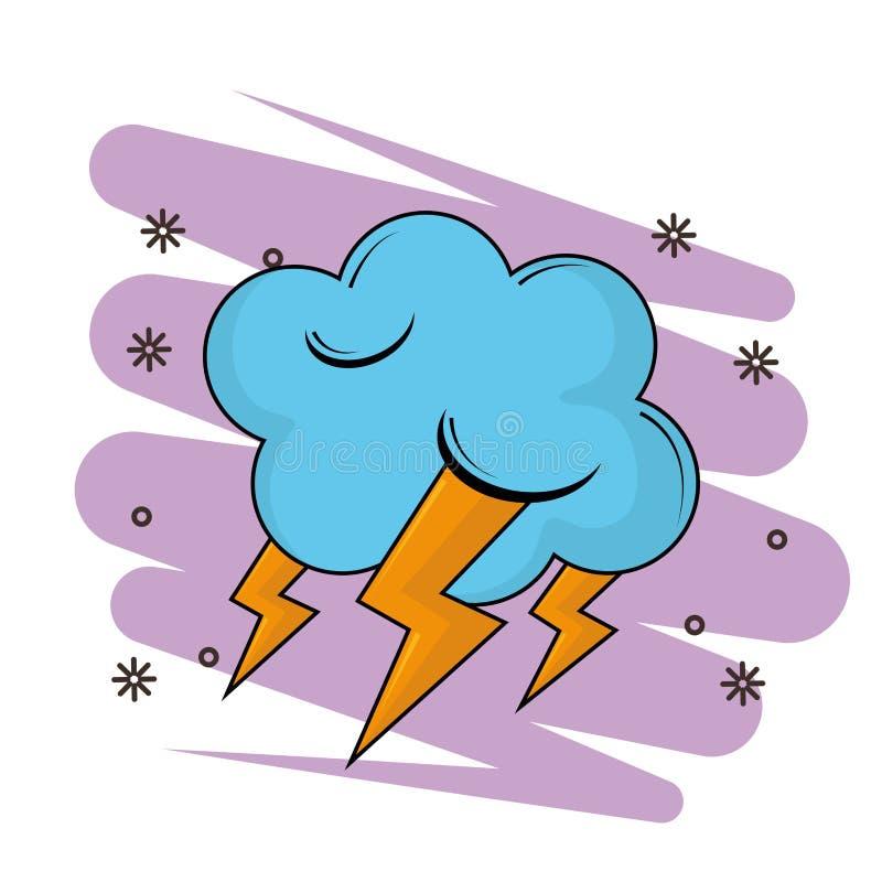 Облако с мультфильмом лучей иллюстрация штока