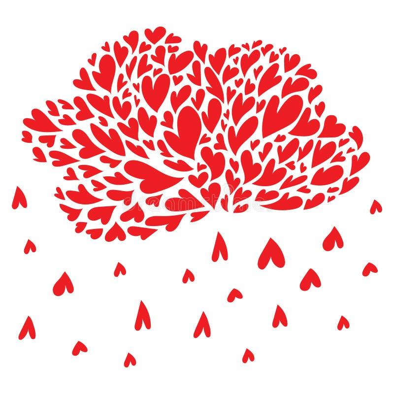 Облако с сердцами Дождь от сердец Vector иллюстрация к дню святой валентинки Символ влюбленности иллюстрация вектора