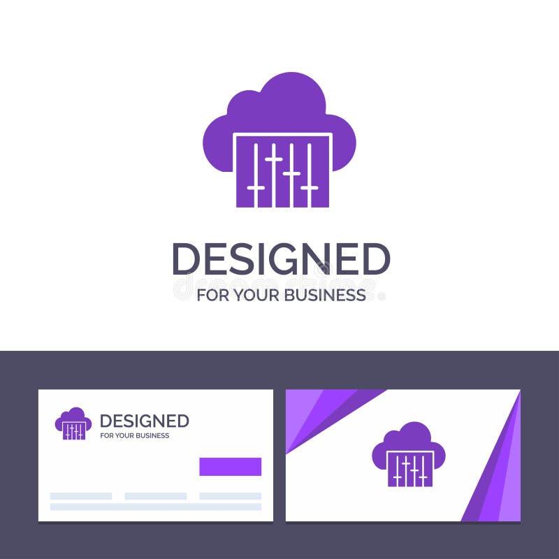 Облако творческого шаблона визитной карточки и логотипа, соединение, музыка, аудио иллюстрация вектора иллюстрация вектора