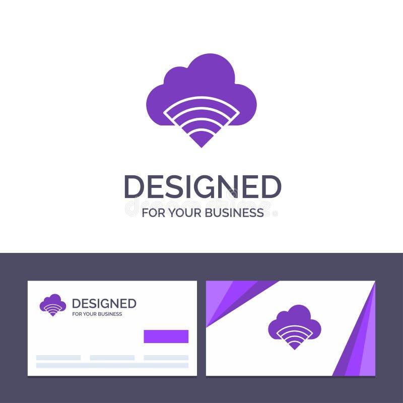 Облако творческого шаблона визитной карточки и логотипа, соединение, Wifi, иллюстрация вектора сигнала иллюстрация штока