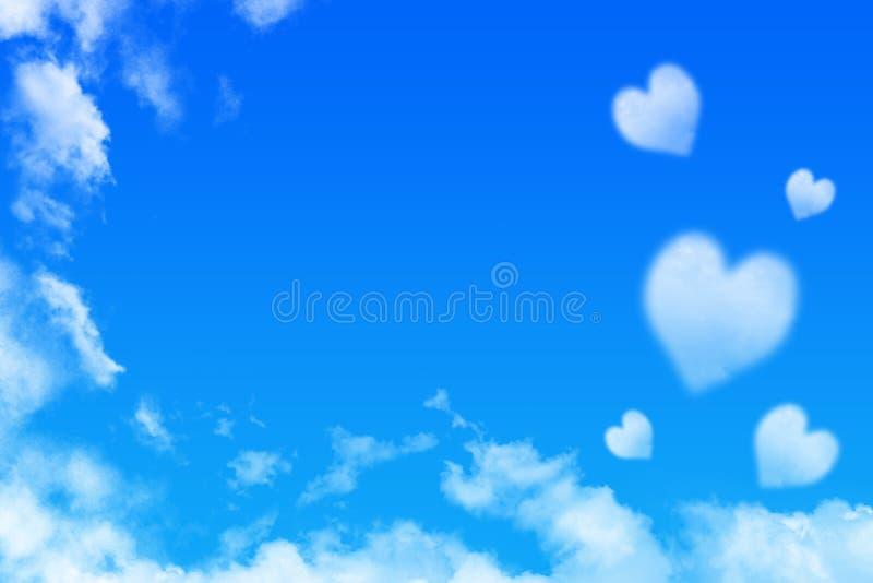 Облако формы сердца на голубом небе, предпосылке Валентайн стоковые фотографии rf