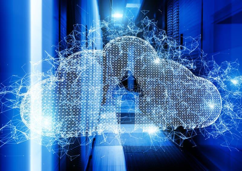 Облако частиц и треугольников плекса на предпосылке строк тоннеля центра данных концепция обслуживаний облака стоковая фотография