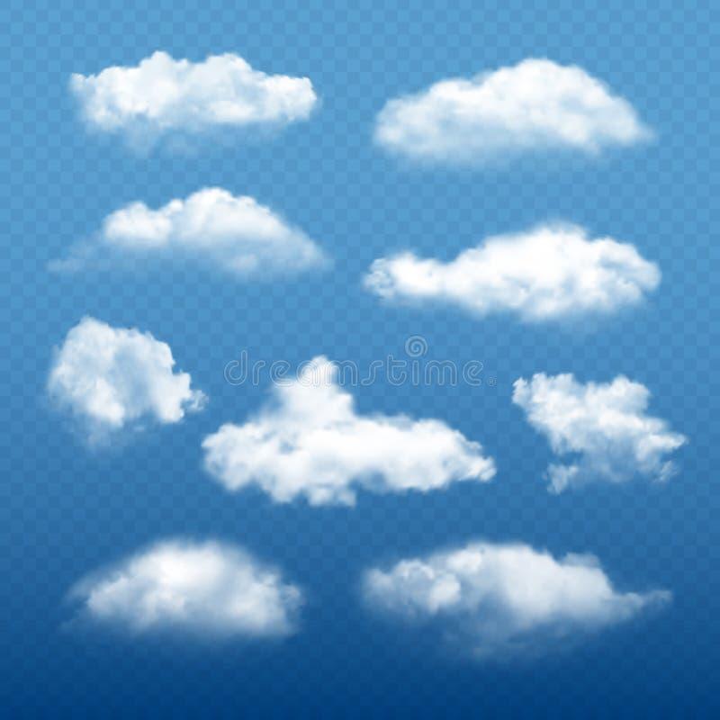 Облачное небо реалистическое Красивые белые элементы погоды вектора собрания конденсации облаков иллюстрация штока