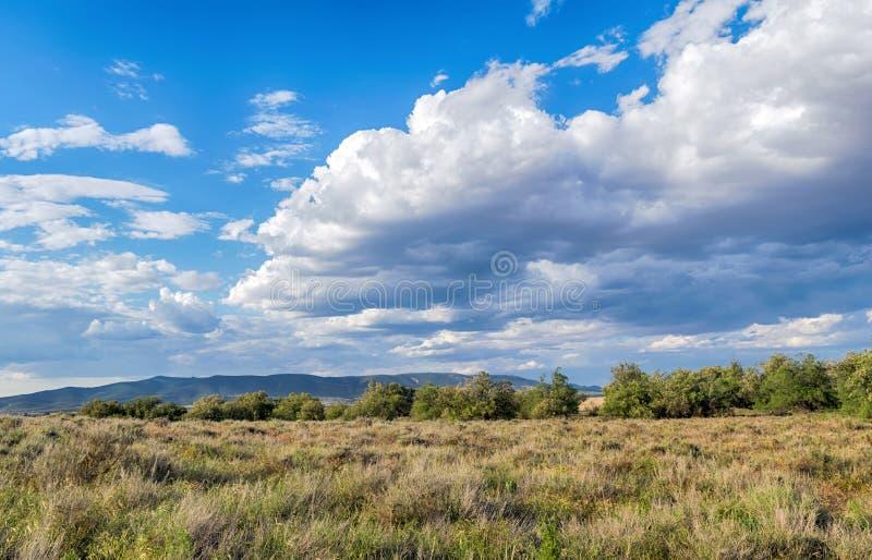 Облачное небо whit ландшафта голубое стоковое фото rf