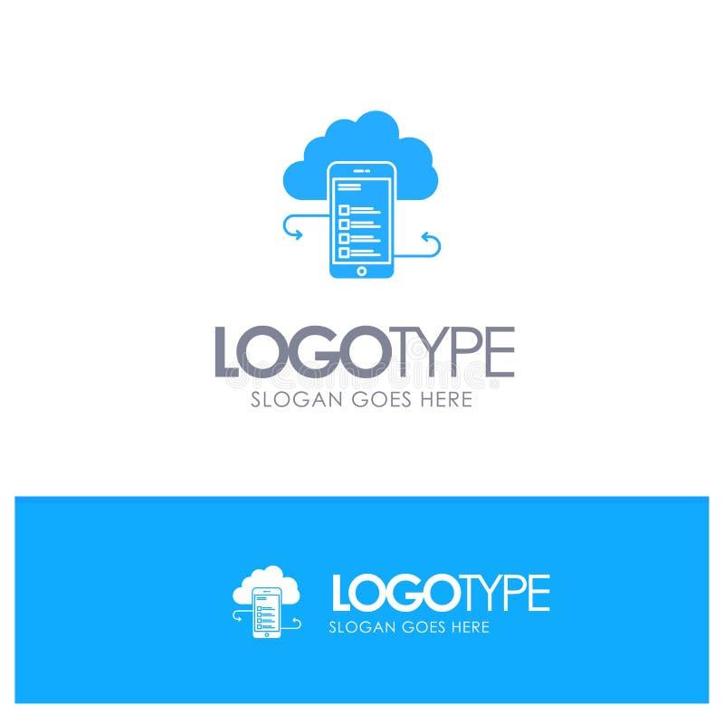 Облачное хранилище, бизнес, облачное хранилище, облачные ресурсы, информация, мобильный, безопасный синий логотип с местом для те иллюстрация штока