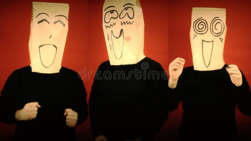 Облицеванное возбужденное эмоций Breadbags счастливое стоковые изображения