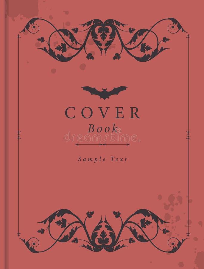 Обложка книги с рамкой античного стиля орнаментальной, пятнами влаги и бить палкой значок над текстом образца иллюстрация вектора