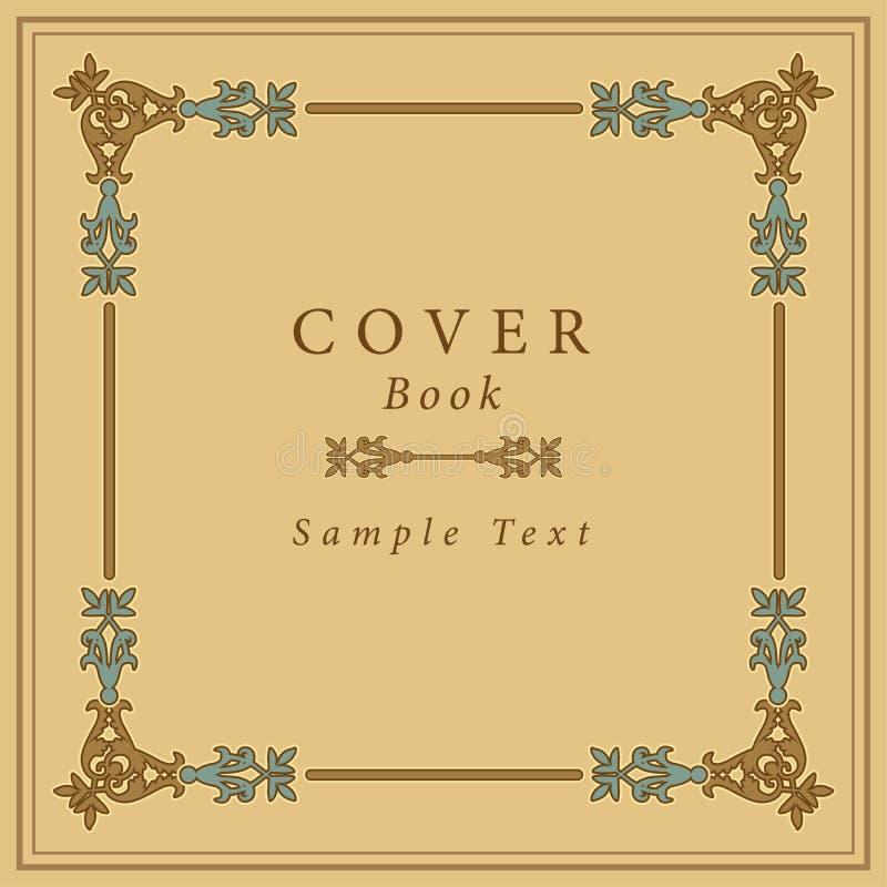 Обложка книги с ретро орнаментальной рамкой золота также вектор иллюстрации притяжки corel иллюстрация вектора
