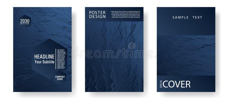 Обложки скольжений представления Темно-синая и черная текстура волн иллюстрация вектора