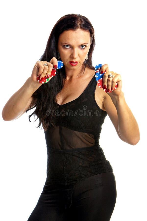 обломоки держа женщину покера стоковое фото