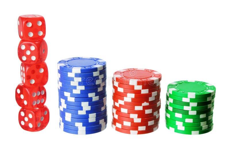 Обломоки и плашки покера стоковые фотографии rf