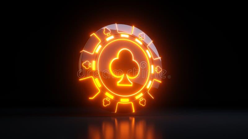 Обломоки казино играя в азартные игры в концепции символа клубов с неоновыми светами изолированными на черной предпосылке - иллюс иллюстрация штока