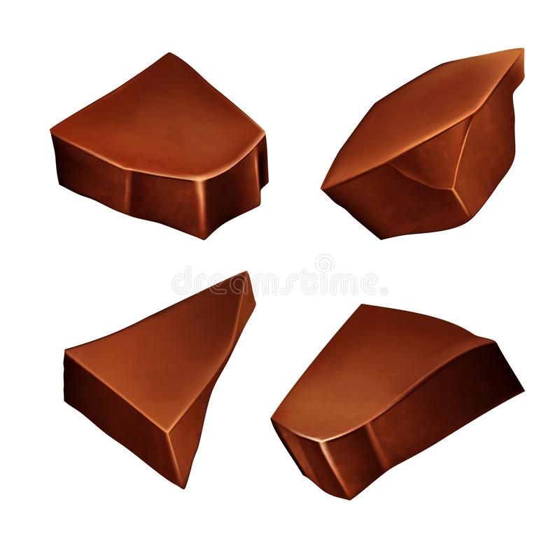 Обломоки шоколада для украшать десерты r иллюстрация штока