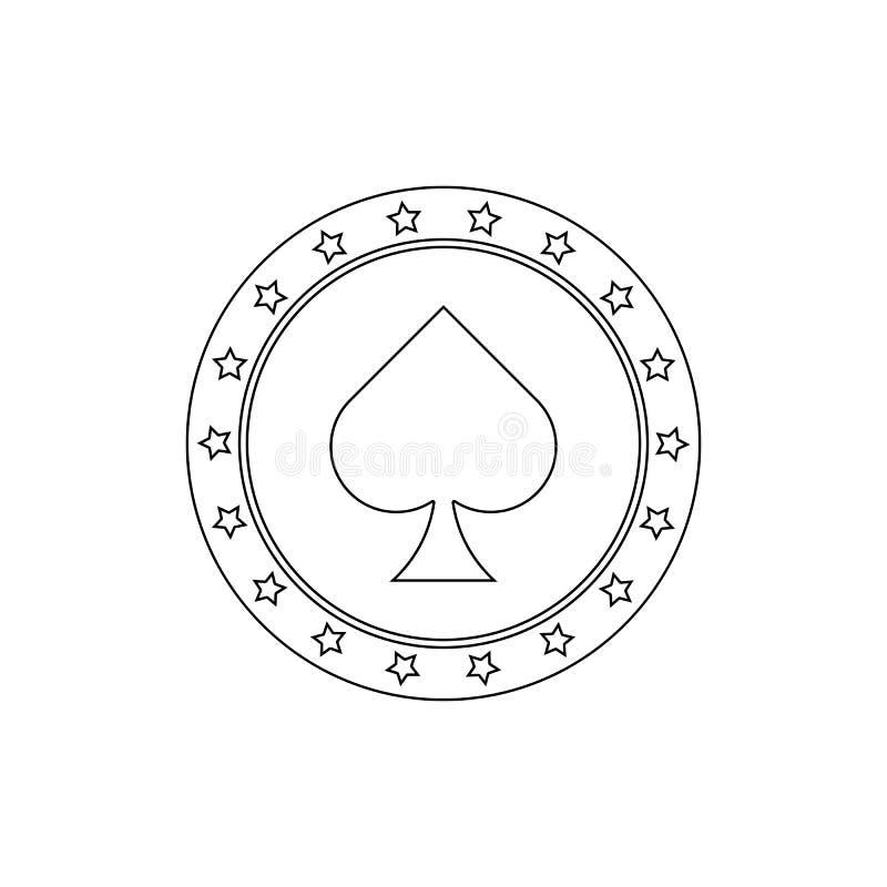 обломок в пиковом значке казино Элемент значка казино r r иллюстрация вектора