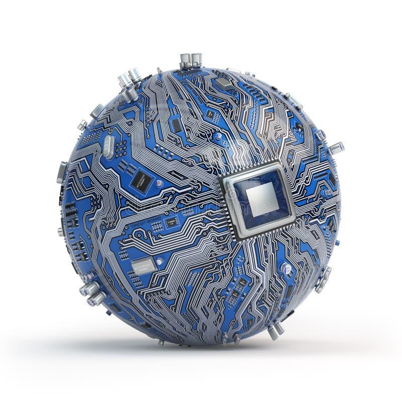Обломок системы монтажной платы с процессором ядра Сферически compute иллюстрация вектора