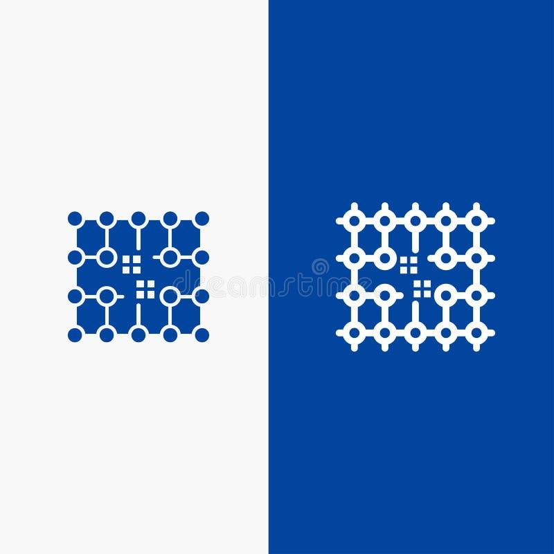 Обломок, соединение, электричество, решетка, значка линии и глифа знамени материального значка линии и глифа твердого знамя голуб иллюстрация вектора