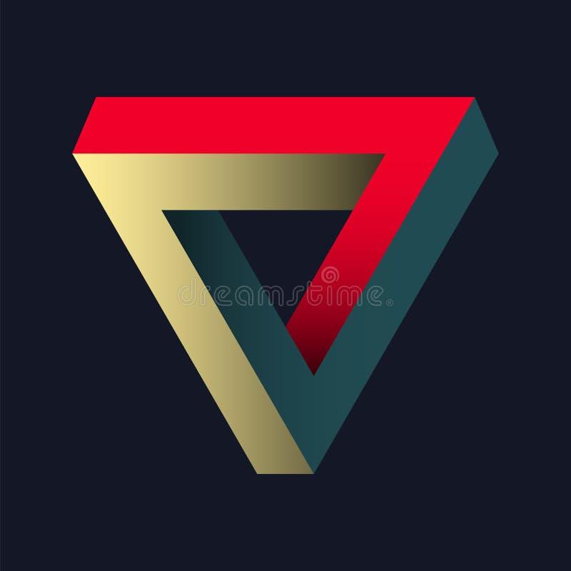 Обман зрения - бесконечный треугольник Penrose иллюстрация вектора