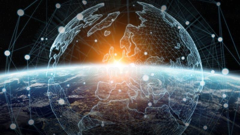 Обмен данными и глобальная вычислительная сеть над переводом мира 3D иллюстрация вектора