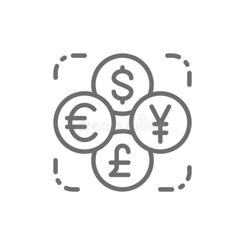 Обмен валюты, иностранная валюта, монетка доллара, евро, иены, линии значка фунта бесплатная иллюстрация