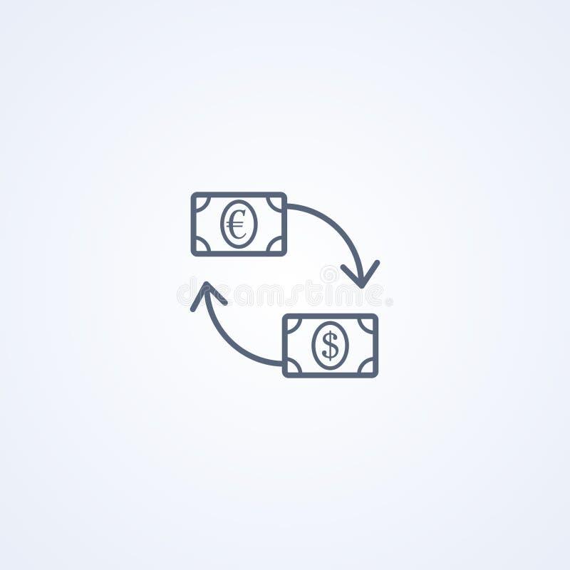 Обмен валюты, линия значок вектора самая лучшая серая иллюстрация штока