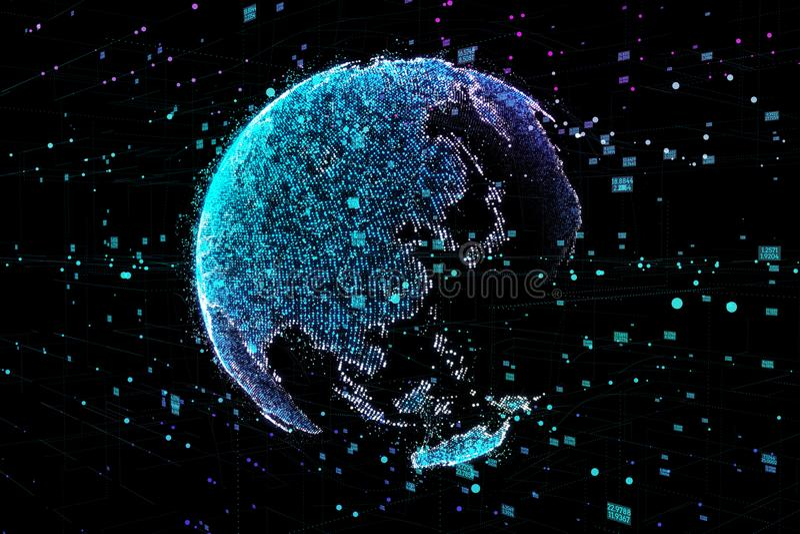 Обмен данными и глобальная вычислительная сеть над иллюстрацией мира 3d иллюстрация штока