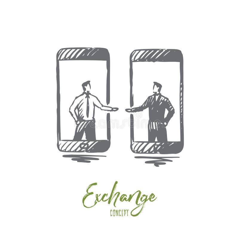 Обмен, дело, финансы, компания, концепция денег Вектор нарисованный рукой изолированный иллюстрация штока