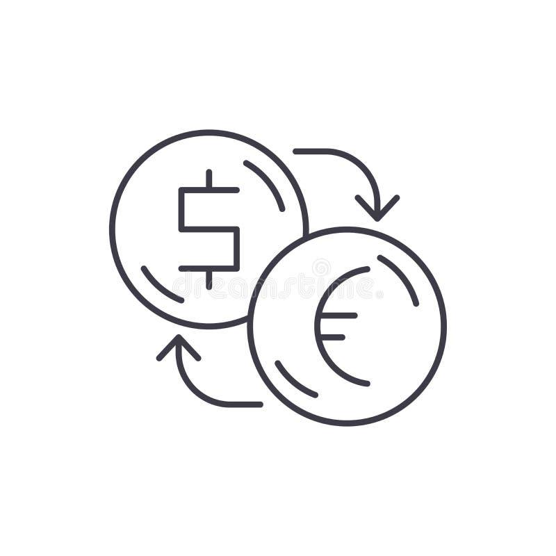 Обмен долларов для евро выравнивает концепцию значка Обмен долларов для иллюстрации вектора евро линейной, символа, знака бесплатная иллюстрация