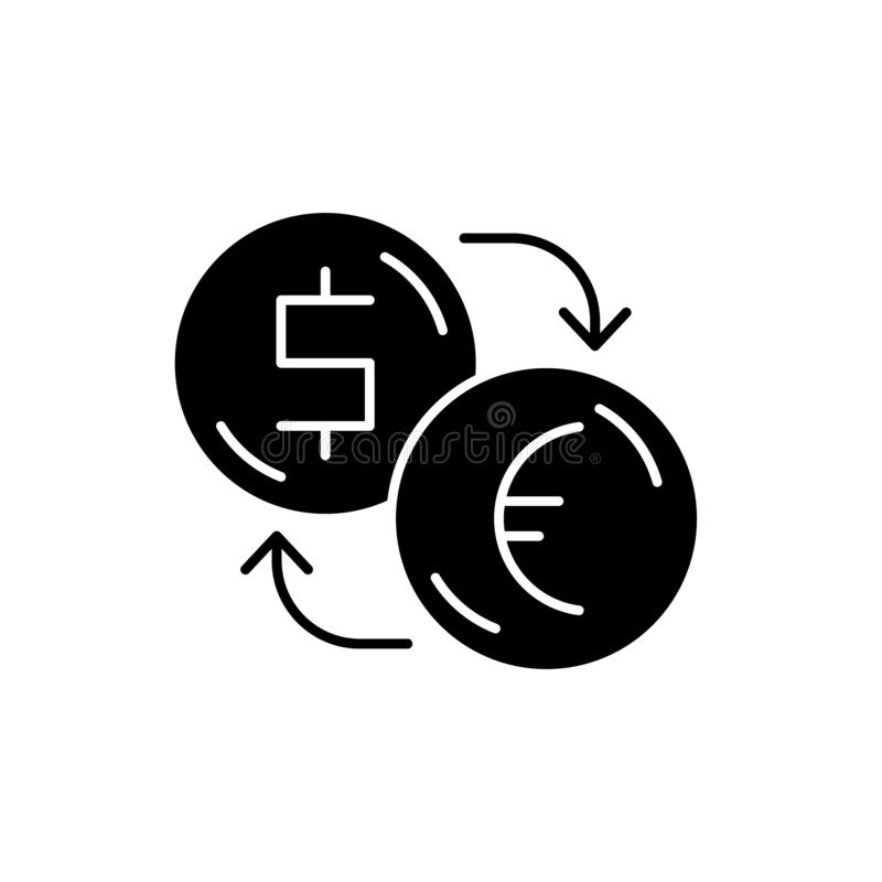 Обмен долларов для евро черного значка, знака вектора на изолированной предпосылке Обмен долларов для концепции евро бесплатная иллюстрация