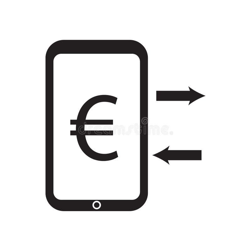 Обмен евро и вектор значка телефона desing иллюстрация вектора