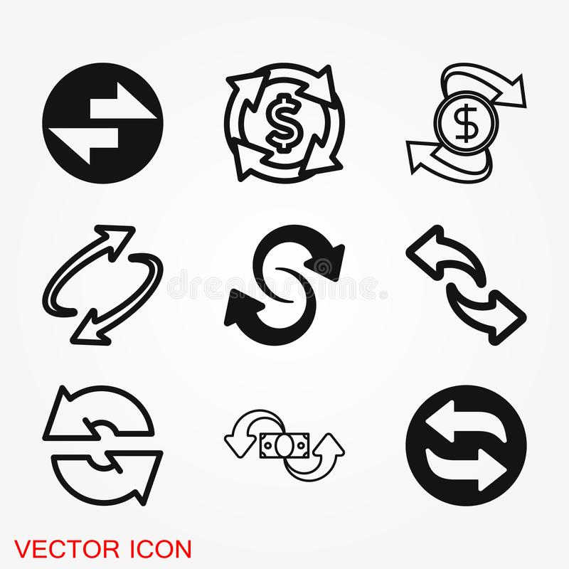 Обмен и значок новообращенного Логотип, иллюстрация, символ знака вектора иллюстрация штока